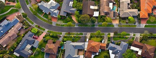 Aerial shot of suburb