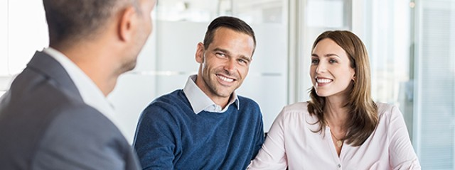 Couple discussing a home loan