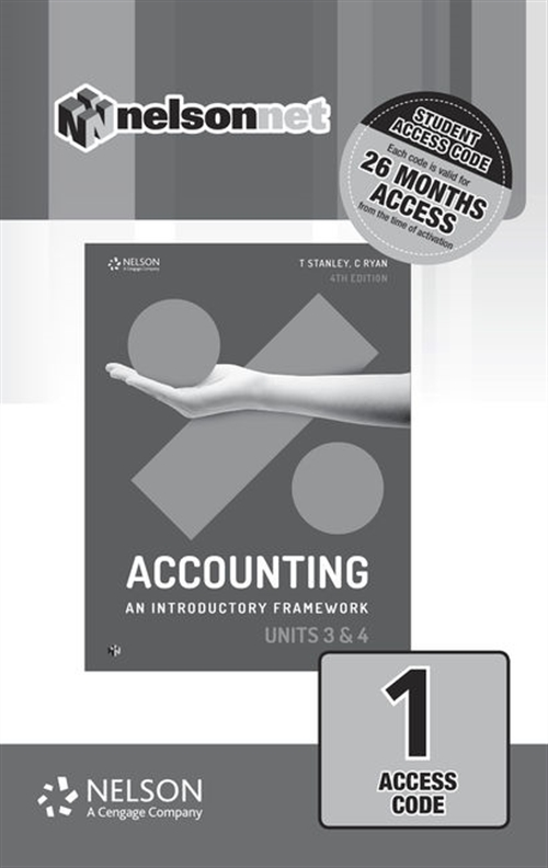 Accounting: An Introductory Framework Units 3 & 4 (1-code Access Card)