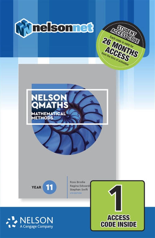 Nelson QMaths 11 Mathematics Methods 1-code Access Card