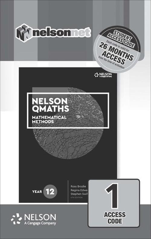 Nelson QMaths 12 Mathematics Methods (1 Access Code Card)