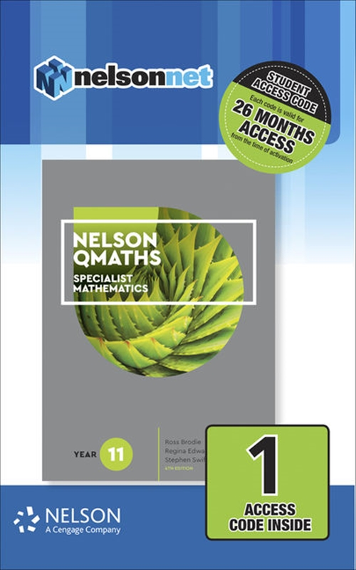 Nelson QMaths 11 Mathematics Specialist (1 Access Code Card)