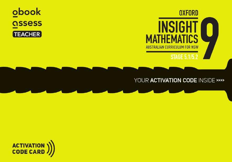 Oxford Insight Mathematics 9 5.1/5.2 AC NSW Prof. Supp obook assess (code card)