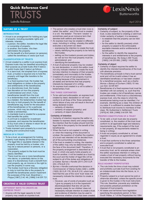 Quick Reference Card: Trusts, April 2016