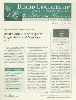 Board Leadership Newsletter: Policy Governance in Action, Number 97, 2008