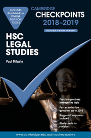Cambridge Checkpoints HSC Legal Studies 2018-19 and Quiz Me More
