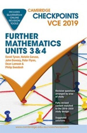 Cambridge Checkpoints VCE Further Mathematics Units 3 and 4 2019 and QuizMeMore