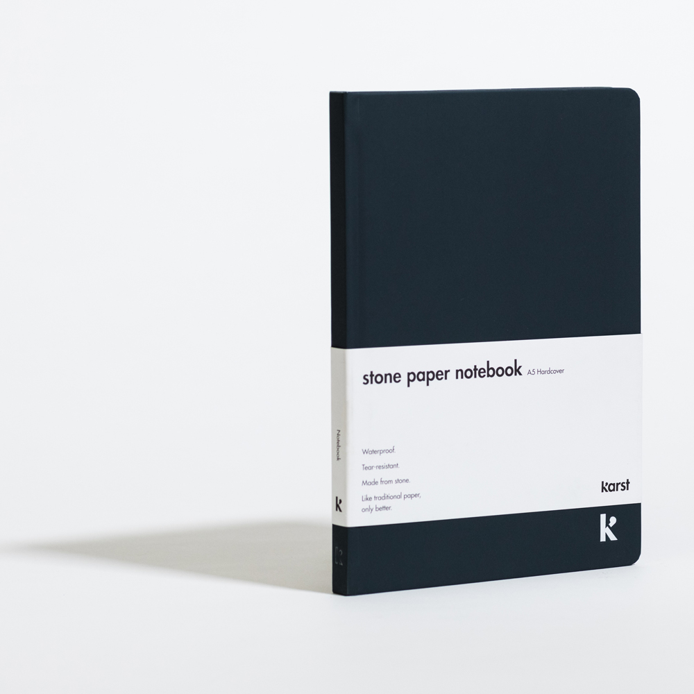 Karst Stone Paper Blank Hardcover Notebook A5 Navy