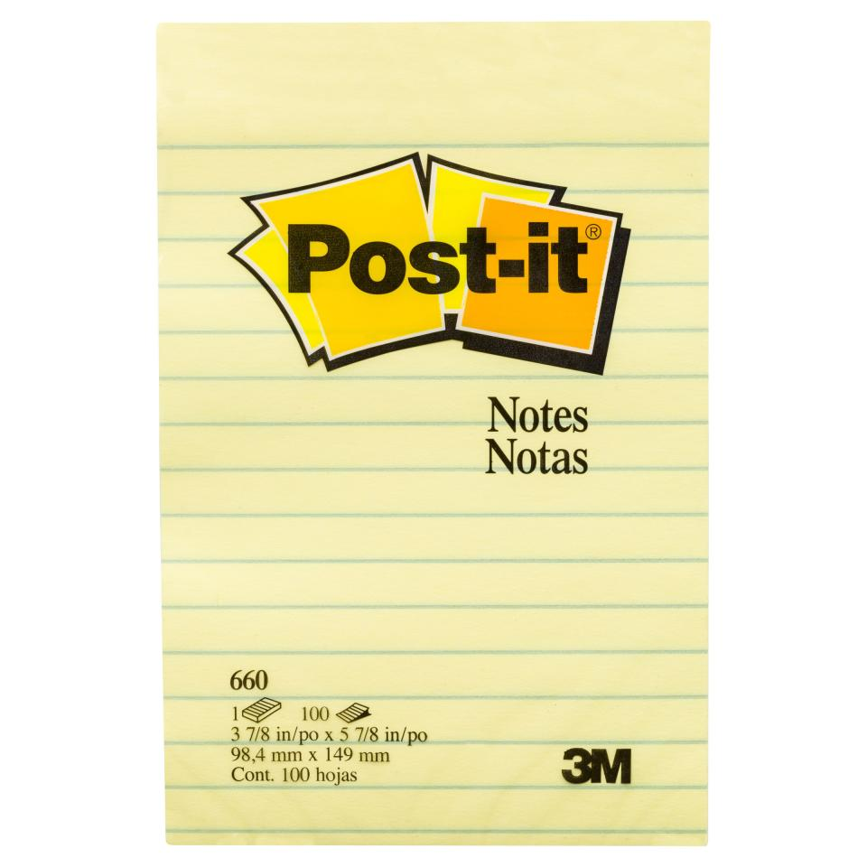 Post-It Lined Notes 660 98.4 X 149mm Yellow