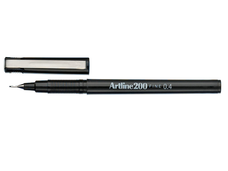 Artline 200 Marker Fineline 0.4mm Black Box of 12