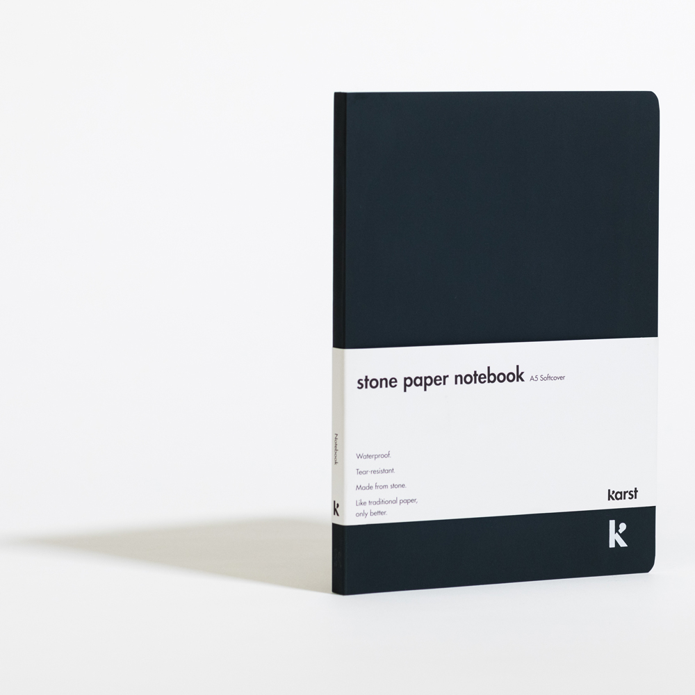 Karst Stone Paper Blank Softcover Notebook A5 Navy