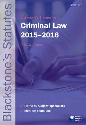 Blackstone's Statutes on Criminal Law 2015-2016