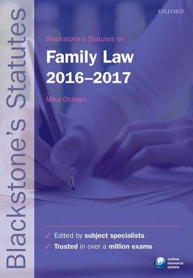 Blackstone's Statutes on Family Law 2016-2017