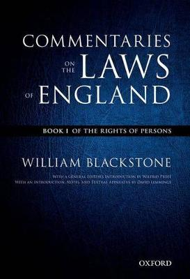 The Oxford Edition of Blackstone: Commentaries on the Laws of England Book I: Of the Rights of People