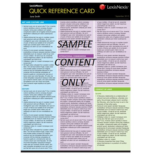 LexisNexis Quick Reference Card: Contract Law I