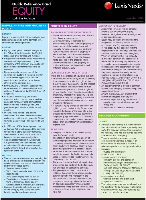 LexisNexis Quick Reference Card: Equity
