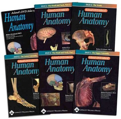 "Acland's DVD Atlas of Human Anatomy: ""The Upper Extremity"", ""The Lower Extremity"", ""The Trunk"", ""The Head and Neck Part 1"", ""The Head and Neck Part 2"", ""The Internal Organs """
