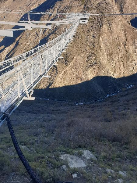 Through the viewing glass at the nevis bungy. Long long way down.