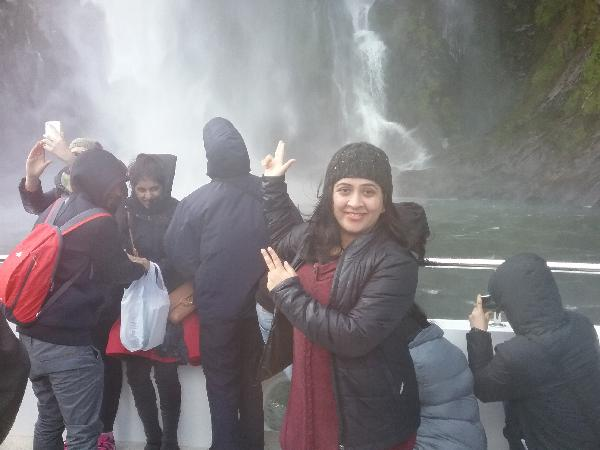 Milford Sound waterfall.