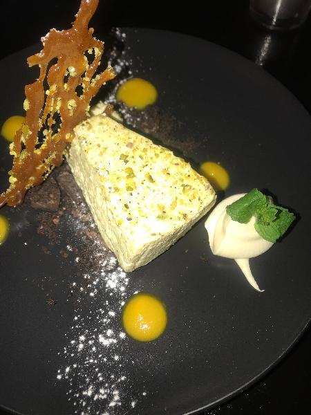 Orange & pistachio cheesecake.