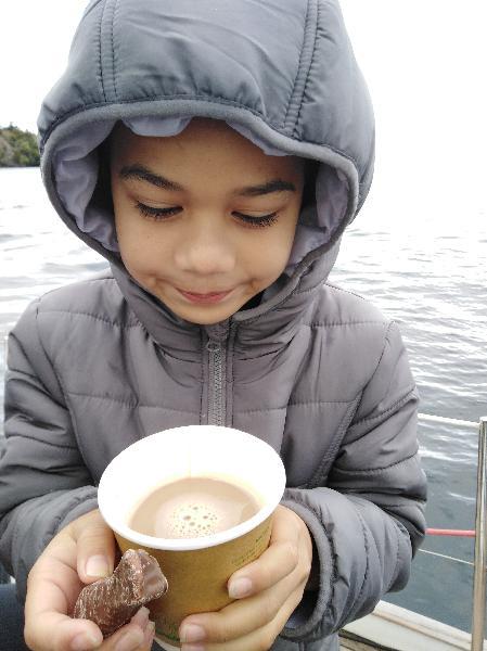 Hot chocolate and choccy fish.