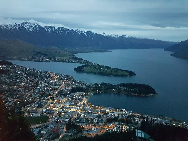Queenstown at dusk.