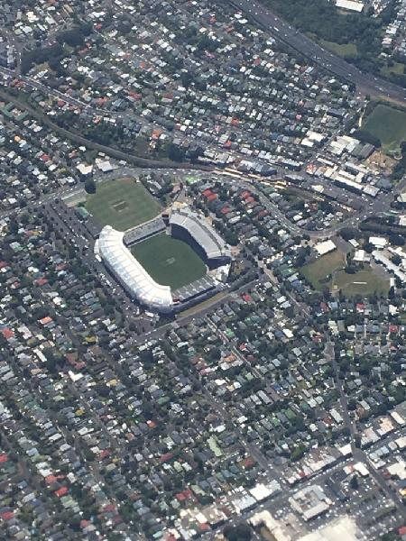 Eden park from the plane into Auckland.