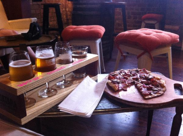 My tasty pizza. And a flight of taster beers to go with. Fab!