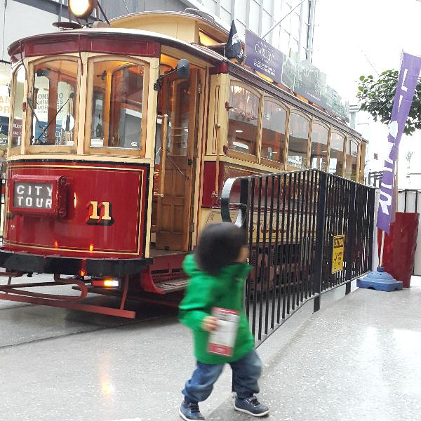 My little boy excited to see the Tram