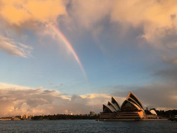 Rainbow over the Opera House as viewed from the deck