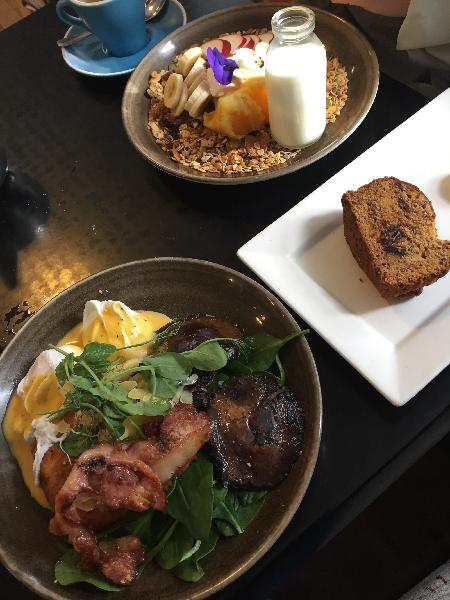 Poached eggs, granola and yogurt, and a date loaf! YUM