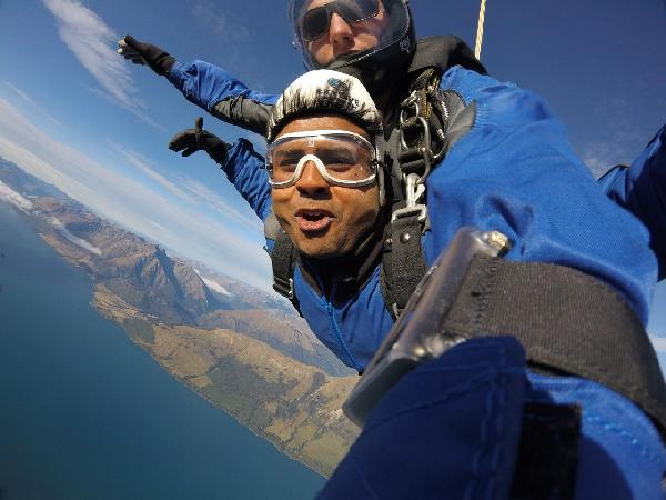 Skydiving in Southern Alps Glenorchy Queenstown, New Zealand.