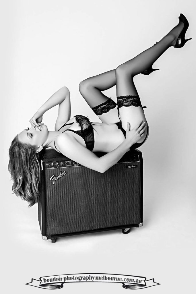 boudoir photography melbourne girl and fender twin amp