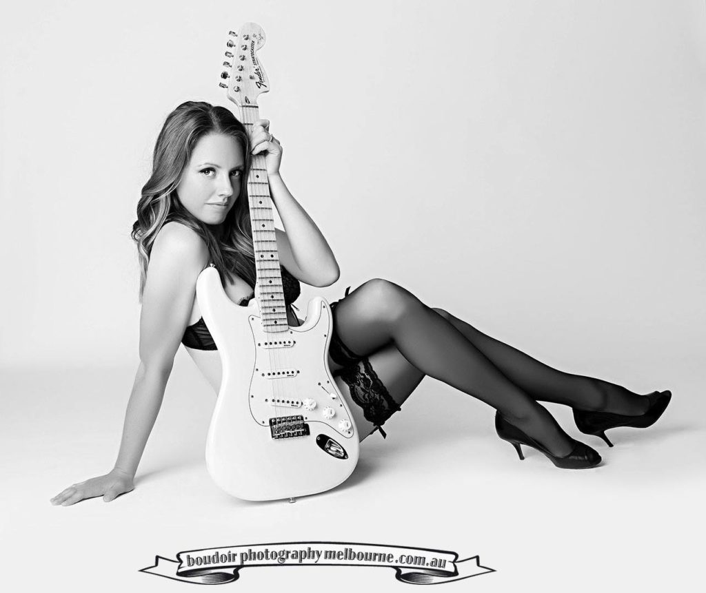 boudoir photography melbourne girl and fender stratocaster