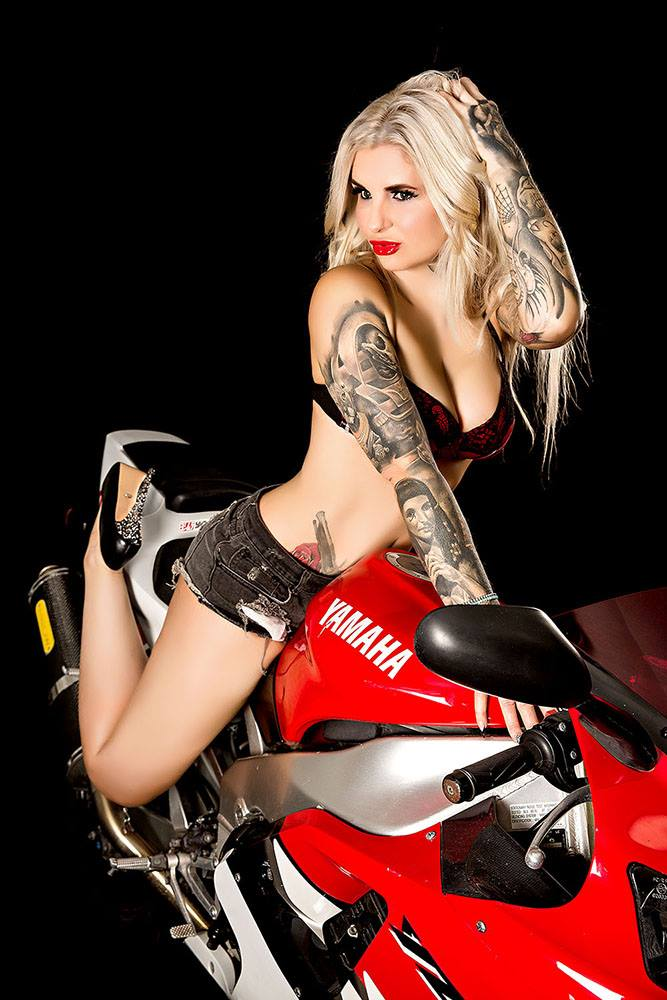 boudoir photography melbourne sports motorcycle with tattoo