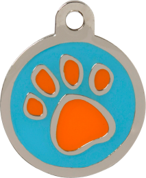 Pawprint Orange & Blue Pet Tag