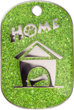 Green Sparkle Small Home Pet Tag