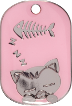Pink Sleeping Cat Pet Tag