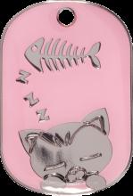 Pink Sleeping Cat Pet Tag