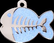 Light Blue Sparkle Fish Pet tag