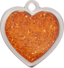 Orange Sparkle Small Heart Pet Tag