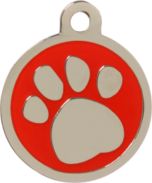 Pawprint Red Pet Tag
