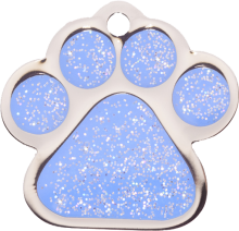 Blue Sparkle Small Paw Pet Tag