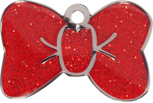 Red Sparkle Small Bow Tie Pet Tag