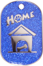 Blue Sparkle Large Home Pet Tag
