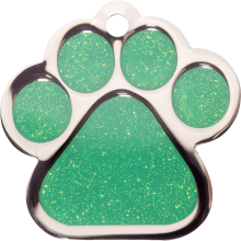 Green Sparkle Large Paw Pet Tag