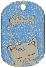 Dark Blue Sparkle Sleeping Cat Pet Tag