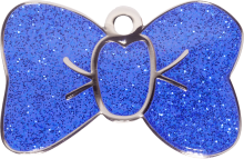 Blue Sparkle Large Bow Tie Pet Tag
