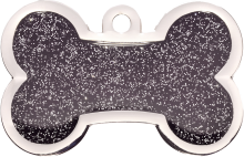 Black Sparkle Large Bone Pet Tag