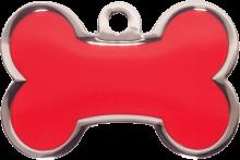 Red Small Bone Pet Tag